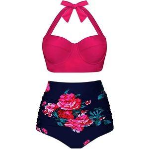 Other - High Waist Retro Pink Floral Bikini